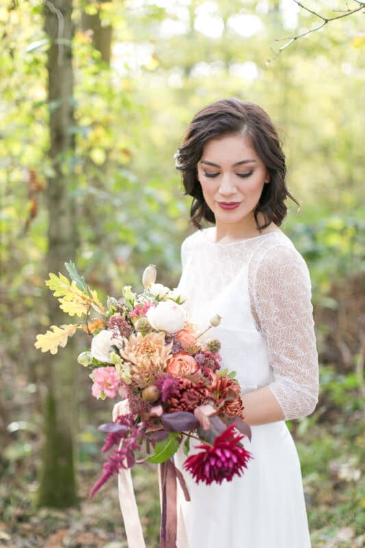 Bridal makeup look with berry lipstick for wedding short hair look for wedding