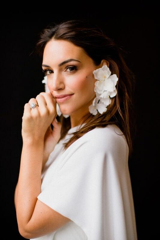 White -modern-bridal-earrings - wedding -dress- bride chic-makeup -morgan-davies-bridal shop-natural wedding-makeup-look