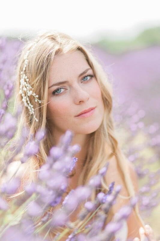 Romantic bridal makeup look in lavender field