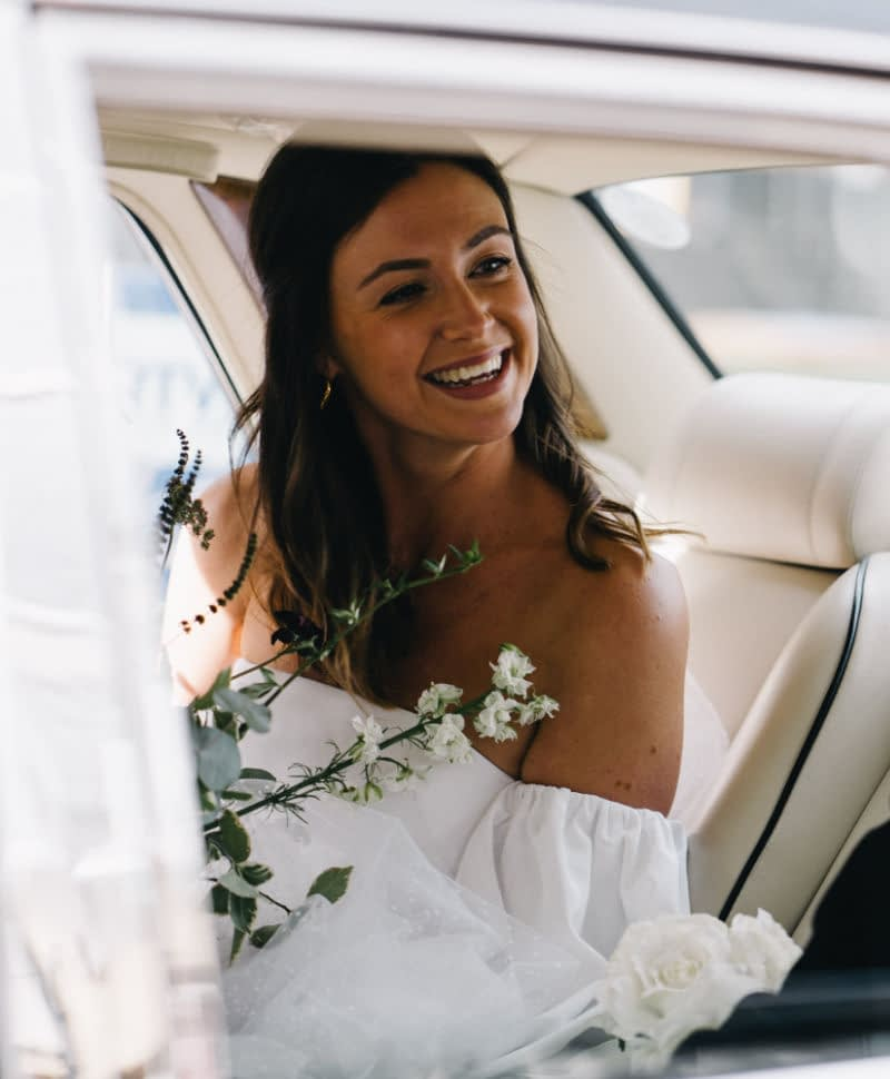 natural bridal makeup strapless wedding dress hair down