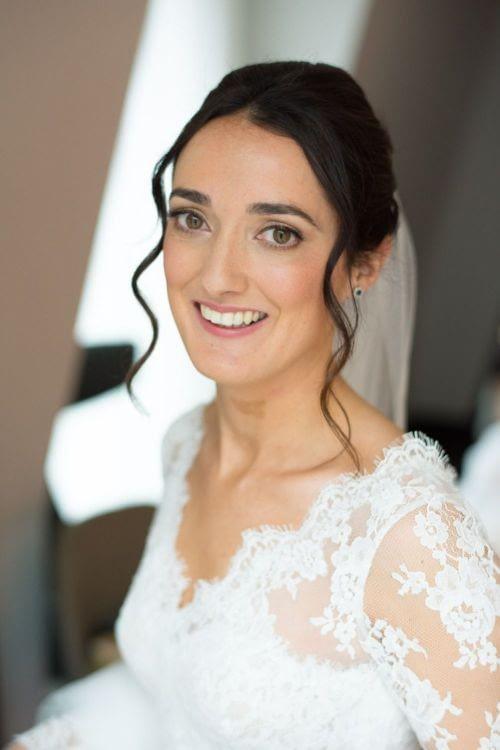 bridal makeup look bride wearing wedding dress