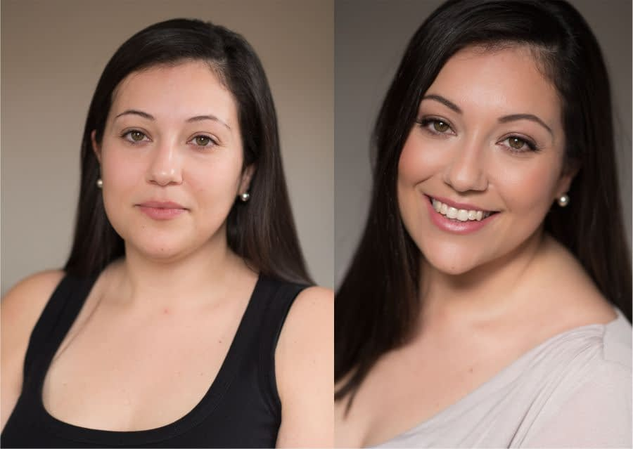 Professional portrait of a woman with natural makeup look before -and-after-transformation