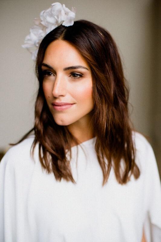 White modern bridal earrings wedding dress bride chic-makeup Morgan Davies bridal shop natural wedding makeup look