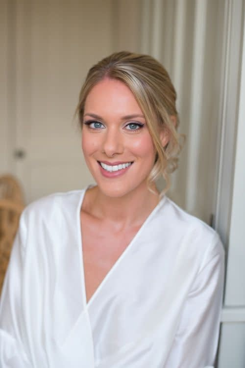 natural and glowing bridal makeup for blond hair