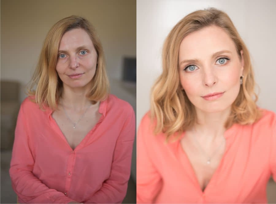 Professional-portrait- natural -makeup look -before -and-after-transformation