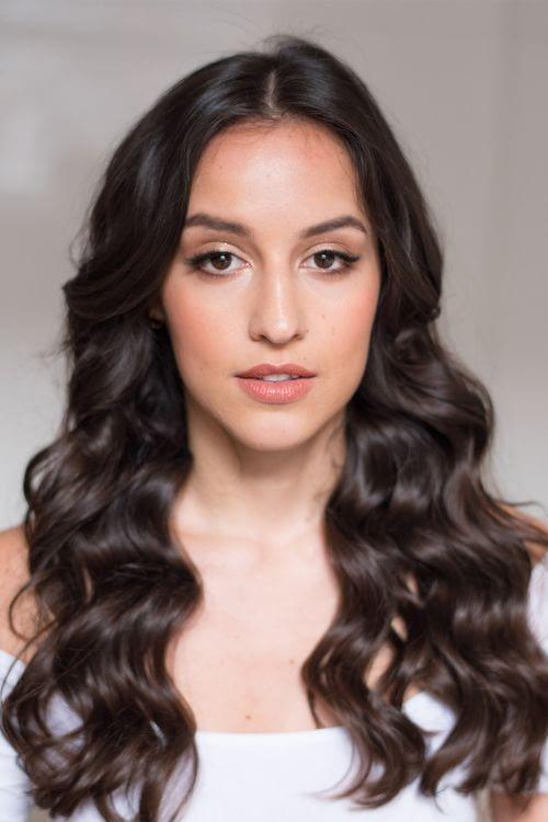 Long wavy hair bridal makeup for brown eyes
