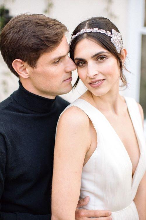 Morden Hall wedding -just-married-couple- diamond-hair-band-hair-back - no makeup makeup look