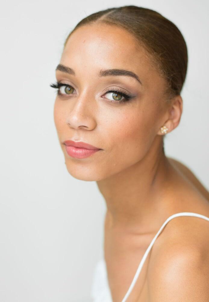 Sleek-wedding-hair-natural-makeup-for olive-skin-tone-rosy-lips-high-cheek-bones-soft-bridal-makeup-look