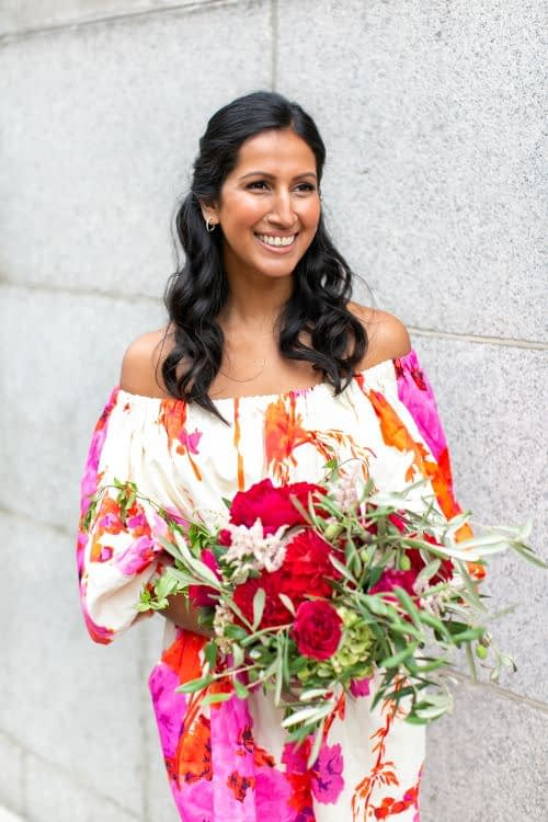Chelsea Old Tow Hall wedding London bride natural bridal makeup modern Indian bride