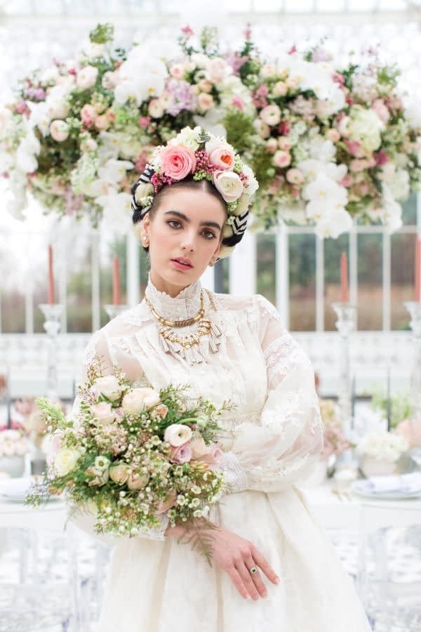 """Bride wearing fresh flower crown and a vintage dress Horniman museum wedding. natural makeup look for a wedding"""
